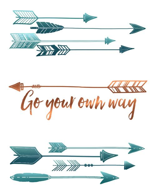 arrow wall art print go your own way lettering pinte