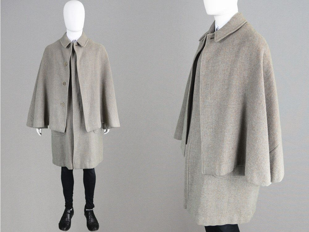Vintage 60s BURBERRY Mens Cape Coat Harris Tweed Coat Pure Wool ...