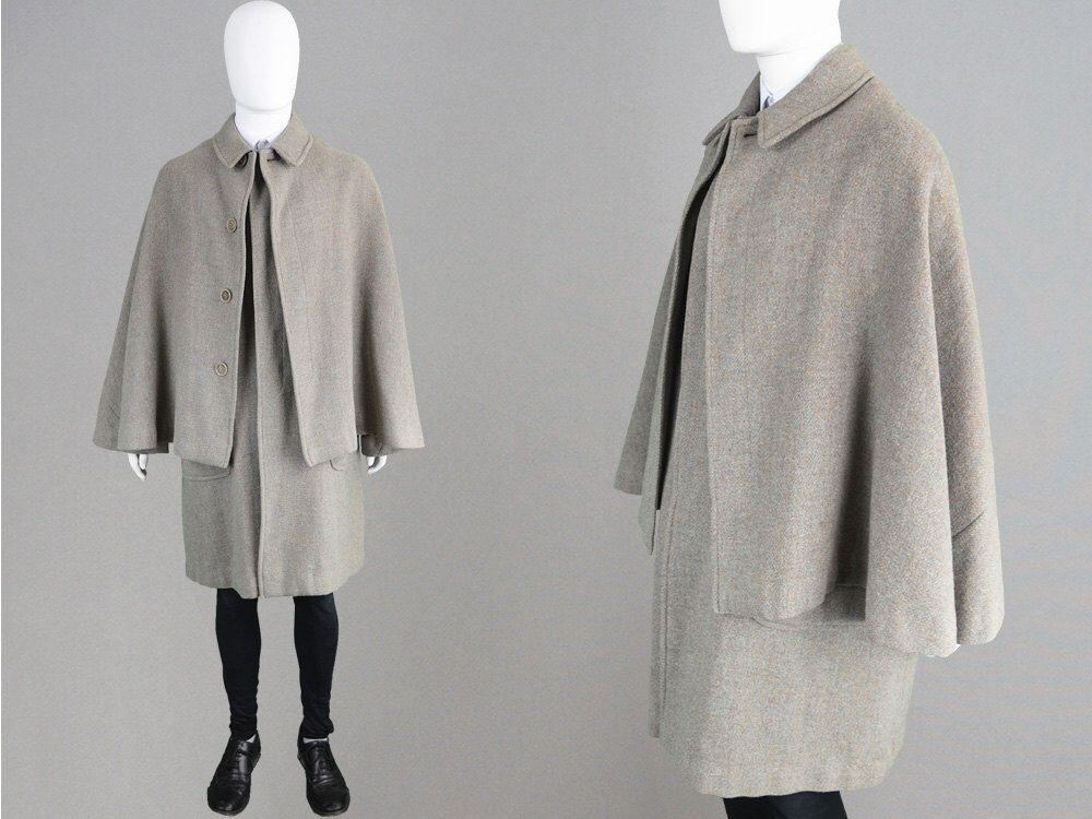 Vintage BURBERRY Harris Coat Cape Coat 60s Pure Mens Tweed QroEdxeWBC