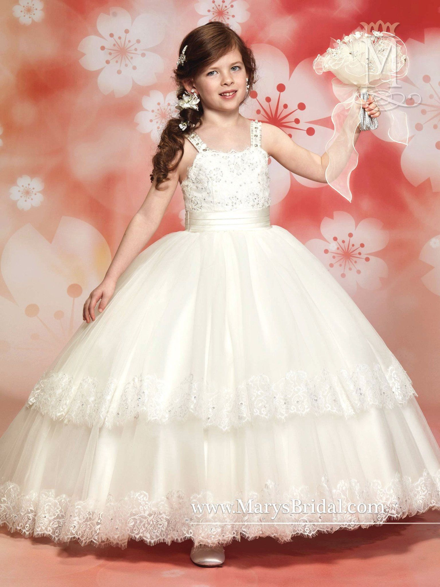 Beach wedding flower girl dresses  Sleeveless Organza Flower Girl Dress by Maryus Bridal Cupids F