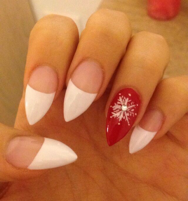 Christmas Nail Designs With White Tips: Stiletto Nails Christmas French Tip