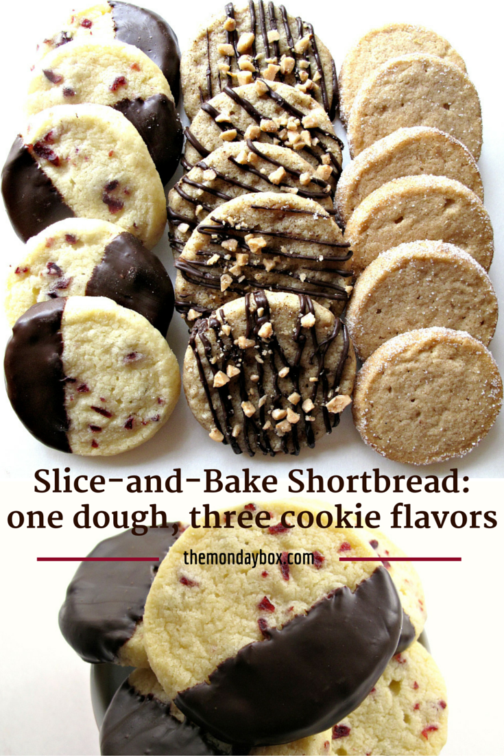 Slice-and-Bake Shortbread: one dough, three cookie flavors- Cranberry Orange, Cinnamon Brown Sugar, and Espresso Toffee | The Monday Box