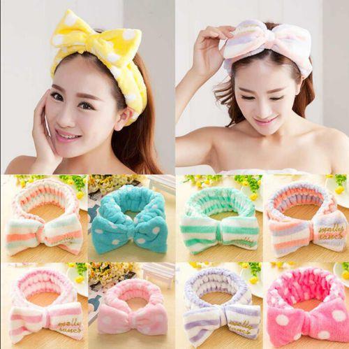 Lovely Big Soft Shower Hair Band Bow Dot Striped Wrap Bath Spa Make Up Headband