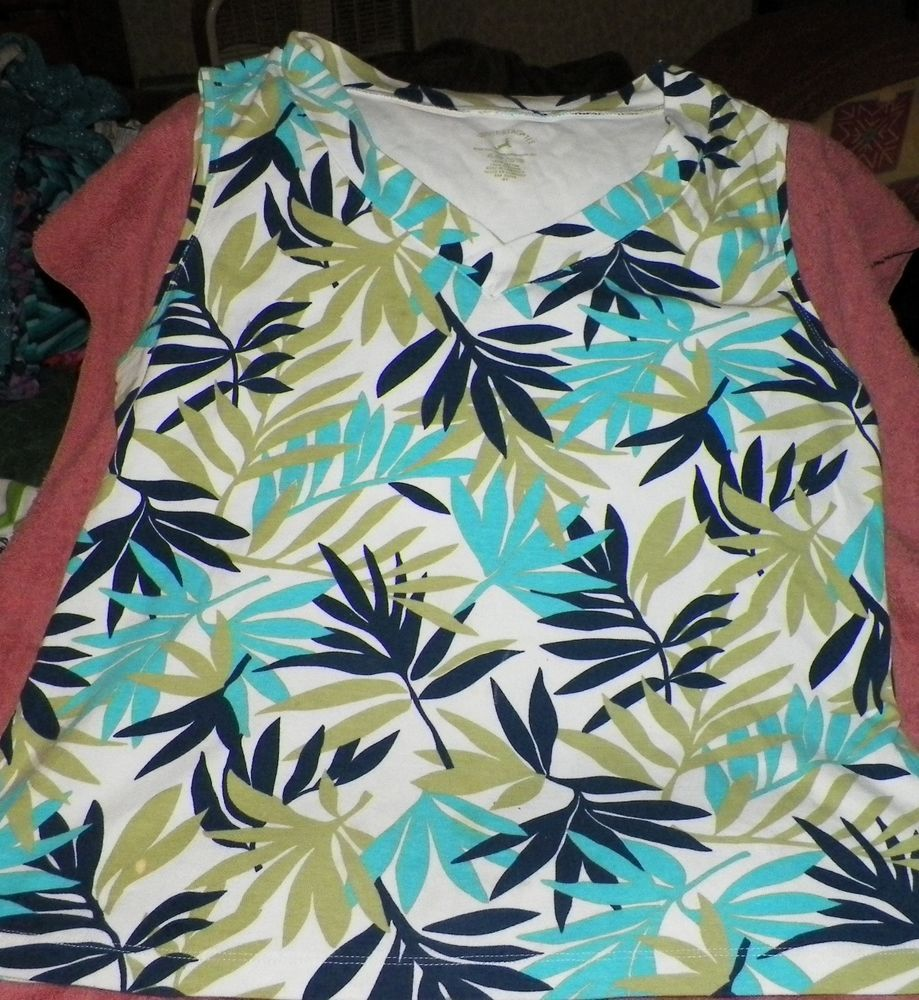 Blue And Green Leaf Sleeveless womens shirt White Stage Brand Used item