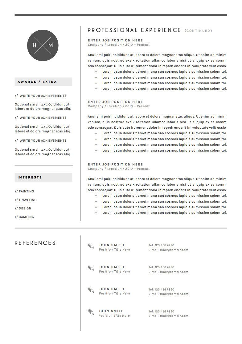 Font For Cover Letter Resume Template 3Page Cv Template Covertheresumeboutique