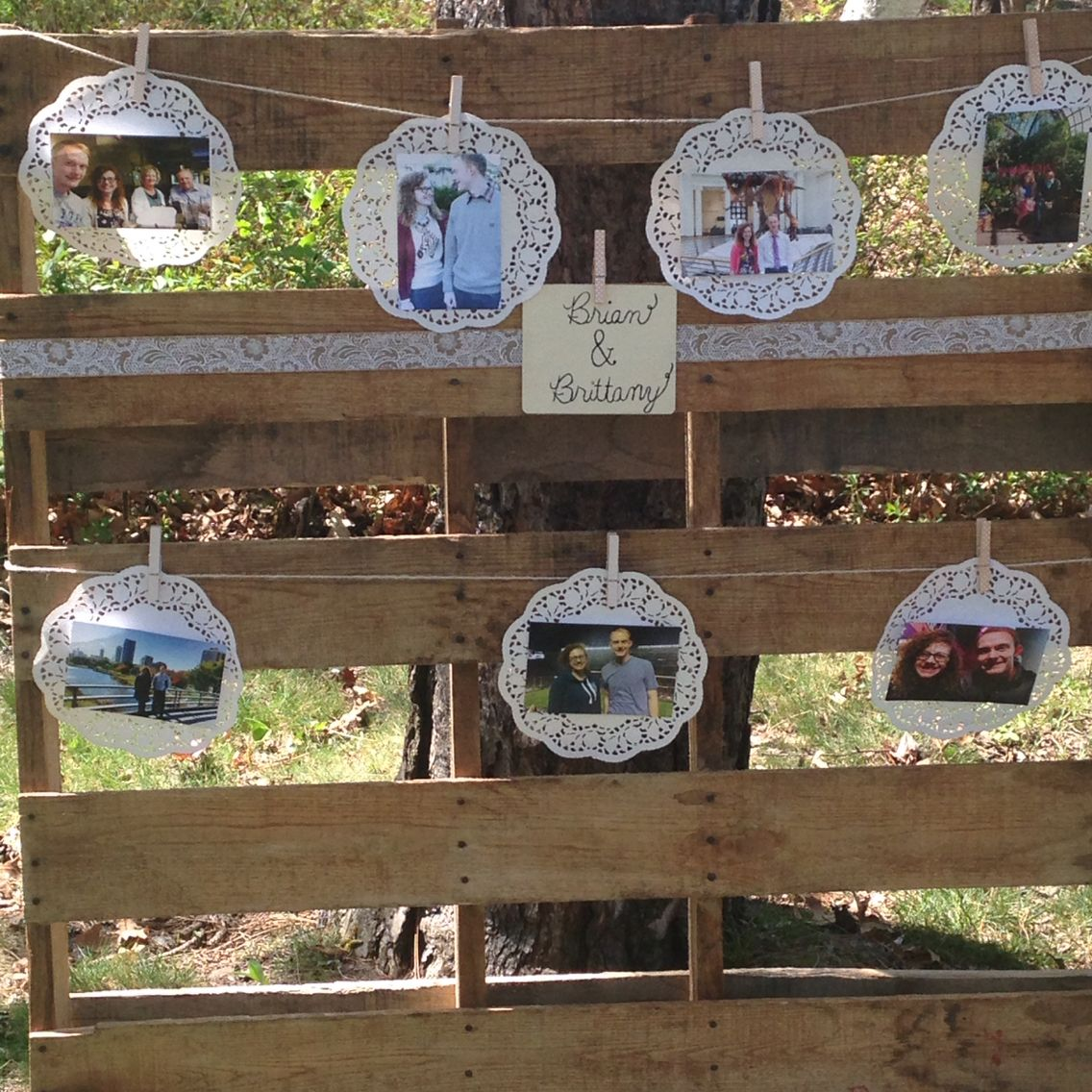 Garden themed bridal shower. Wood pallet with pictures.