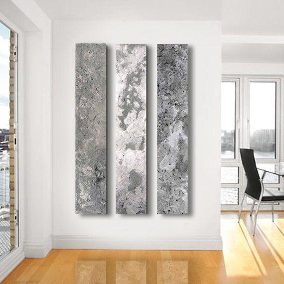 Metallic Abstract Paintings,   3 Panel CUSTOM Abstract Wall Art, Home  Decor,