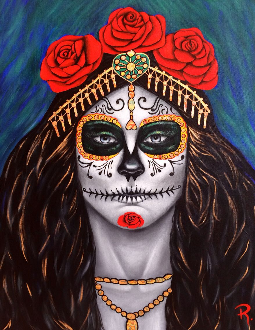 """My latest for the Day of the Dead, """"Mictecacihuatl, Goddess of the Dead"""" she actually has existed for thousands of years. Gilded with variegated Gold and oil on canvas"""