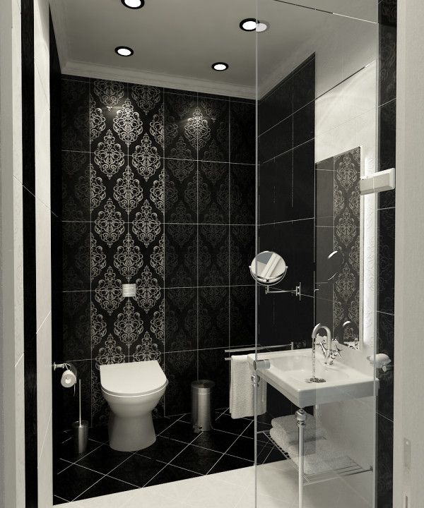Merveilleux Image Of Aesthetic Black And Grey Bathroom Ideas Using Patterned Ceramic  Wall Tiles With White Porcelain