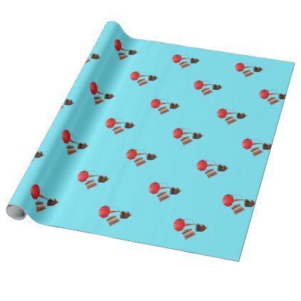Gramophone On Blue Background Wrapping Paper - craft supplies diy custom design supply special