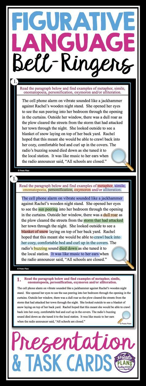 Figurative Language Bell Ringers Task Cards Pinterest