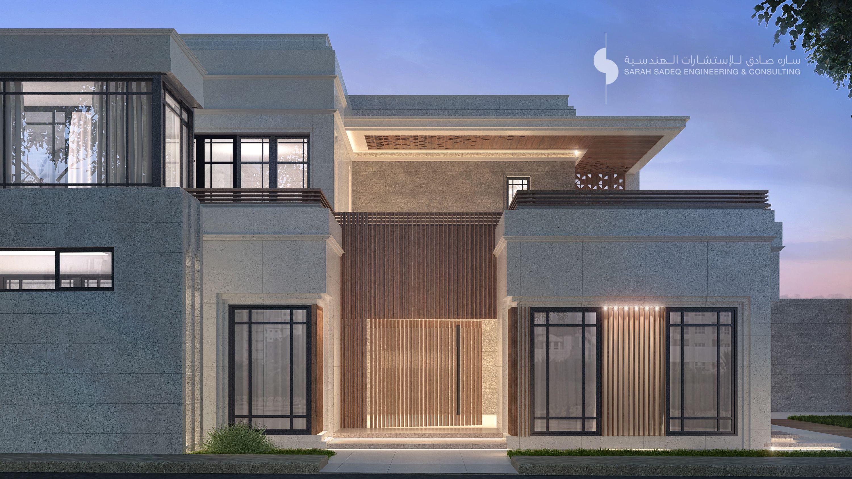 Private villa kuwait 800 m sarah sadeq architects sarah for Classic villa exterior design