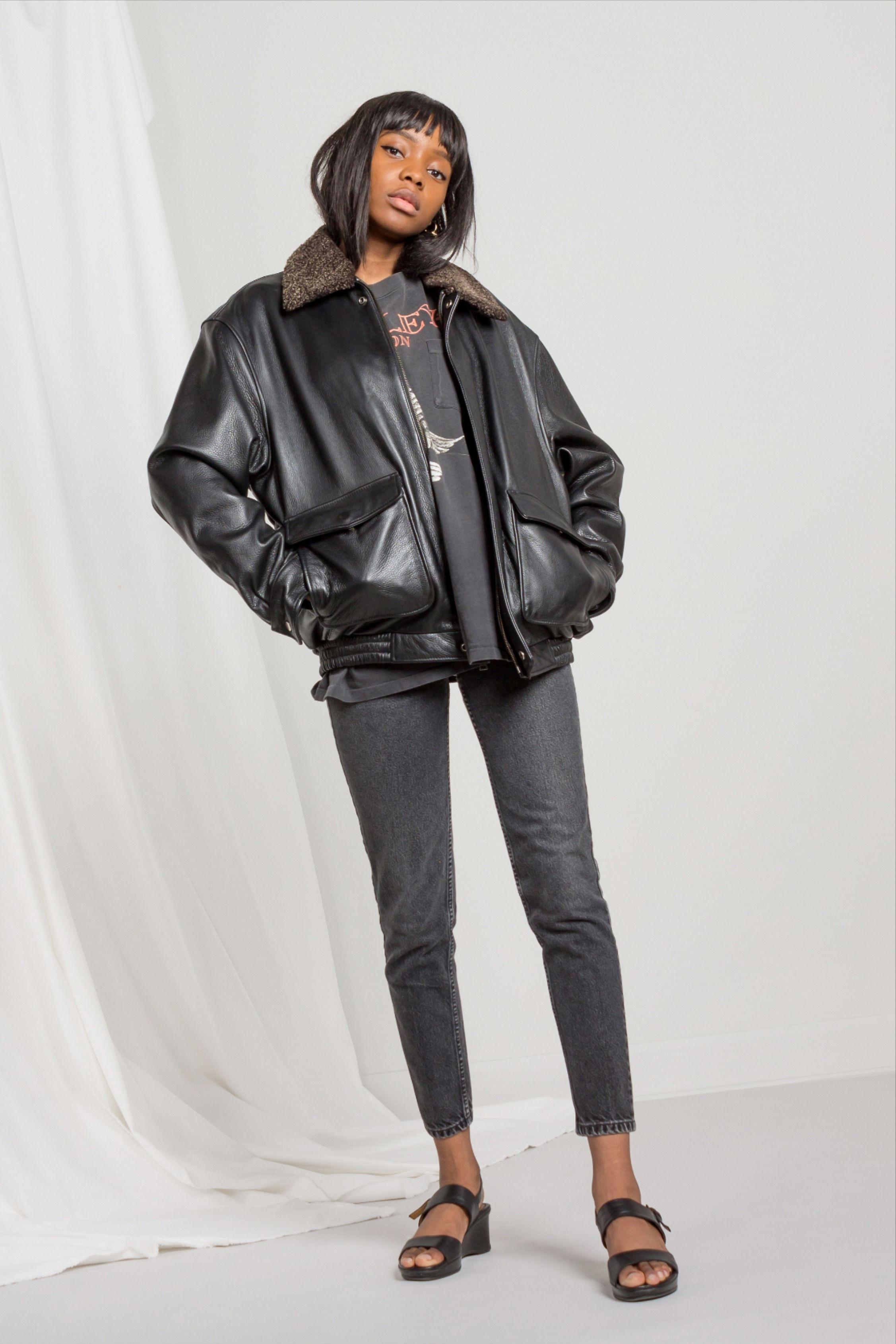 Leather 90 S Bomber Bomber Jacket Vintage Leather Bomber Jacket Black Leather Bomber Jacket [ 3381 x 2254 Pixel ]
