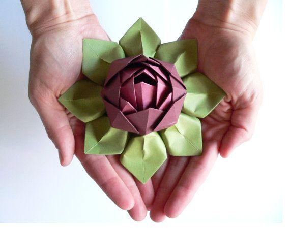 Handmade paper flower origami lotus flower decoration or favor handmade paper flower origami lotus flower decoration or favor merlot rhubarb and mightylinksfo