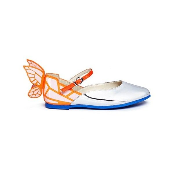 Sophia Webster 'Chiara Mini' butterfly appliqué toddler Mary Jane... (530.785 COP) ❤ liked on Polyvore featuring shoes, flats, patent leather mary jane flats, patent leather flats, shiny shoes, patent leather mary janes and mary-jane shoes