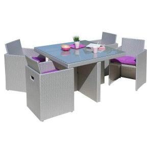 En résine tressée - Dimensions table : 105x105x72 cm - Fauteuil ...