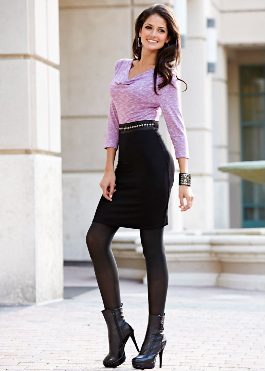 Black Pencil Skirt Purple Blouse Black Pantyhose and Black ...