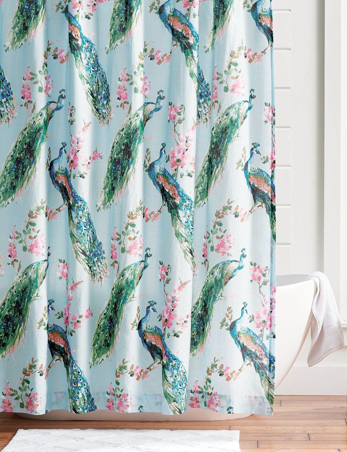 Giada Peacock Shower Curtain In 2020 Peacock Shower Curtain