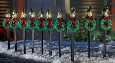 Christmas Lamp Posts Holiday Path Light Stakes Set Of 10 Christmas Lamp Post Decorating With Christmas Lights Outdoor Christmas Decorations