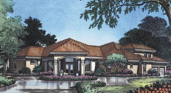 St Augustine 4120 4 Bedrooms And 3 Baths The House Designers Lake Front House Plans Mediterranean House Plan House Plans