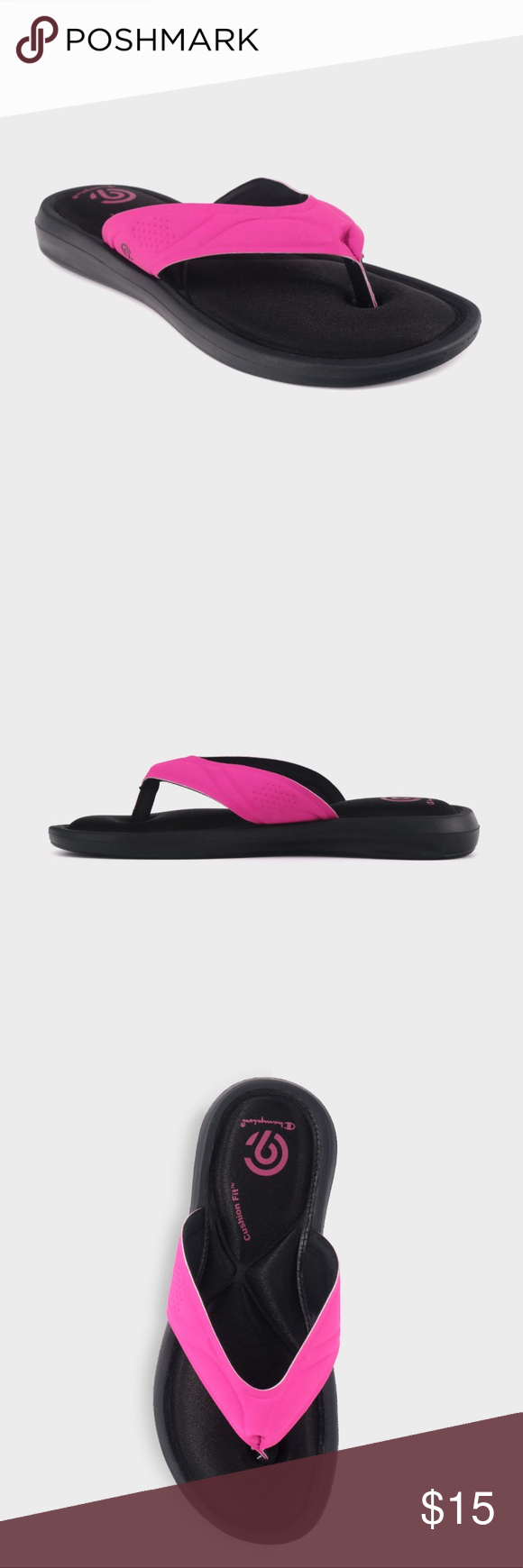 e5b79d0e005c0 Girls  Memory Foam Flip Flop Sandals Champion® Add some comfy color to her  daily