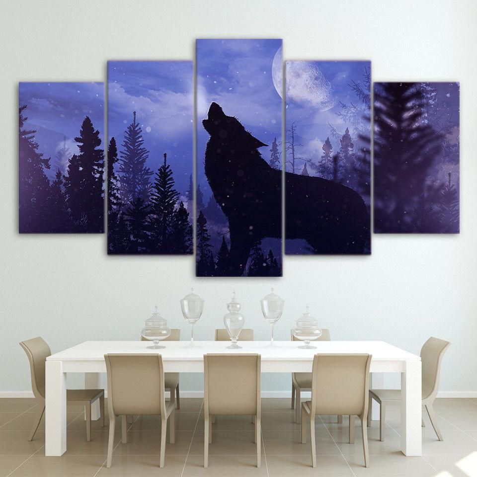 Wall art pictures home decoration hd printed panel blue moon night