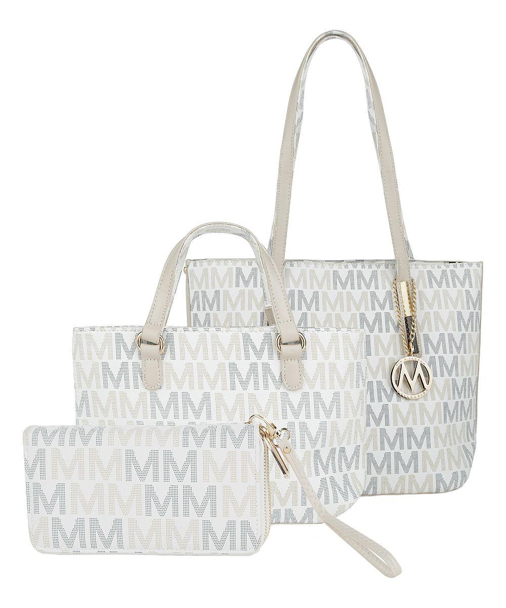 White Logo-Accent Bag Set