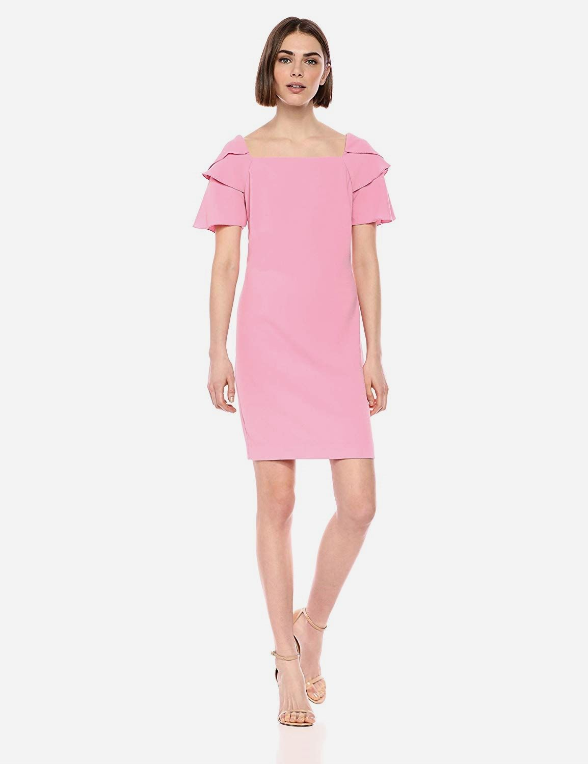 Wander Is A Short Sleeve Shift Dress Made Up In Trina Turk S Classic Crepe Casual Dresses Short Sleeve Dresses Casual Dresses For Women [ 1500 x 1154 Pixel ]