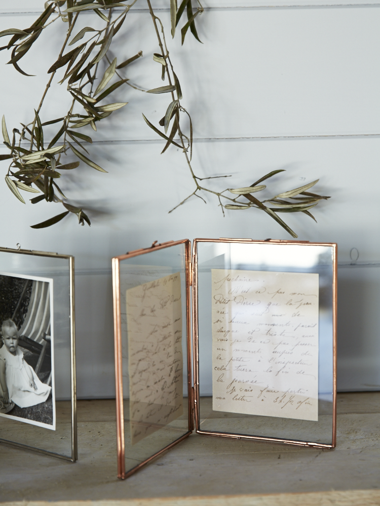 Hinged Glass Photo Frame With Delicate Copper Frame I Like This