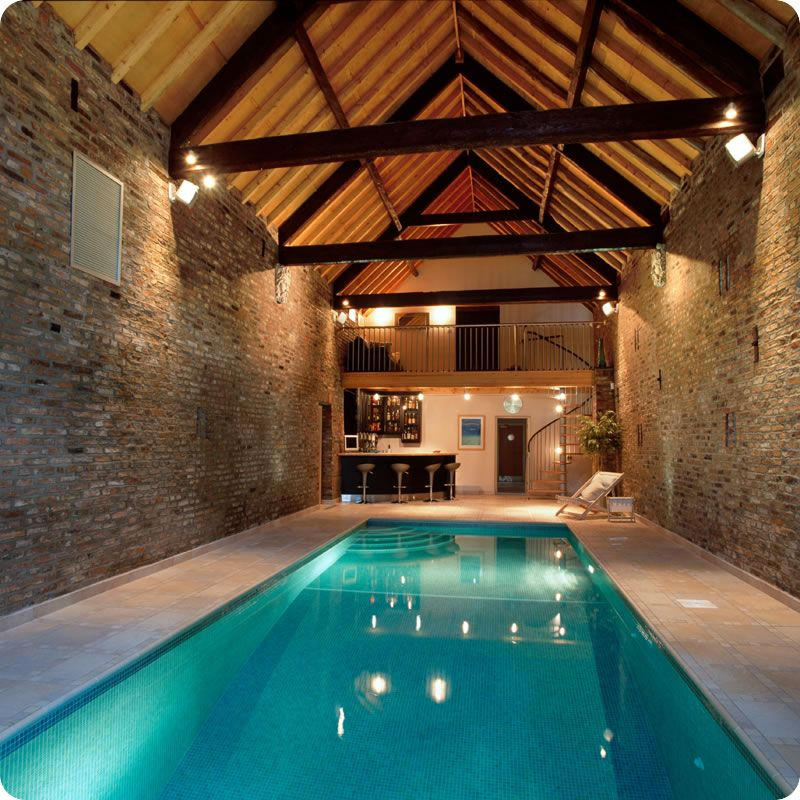Swimming pool with a room area