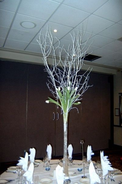 Tall Vase Centerpieces Lily With White Twigs Table Centre