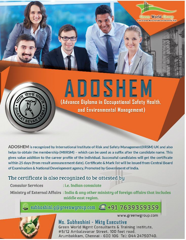 Green World Group Offers For Advanced Safety Adoshem Diploma In