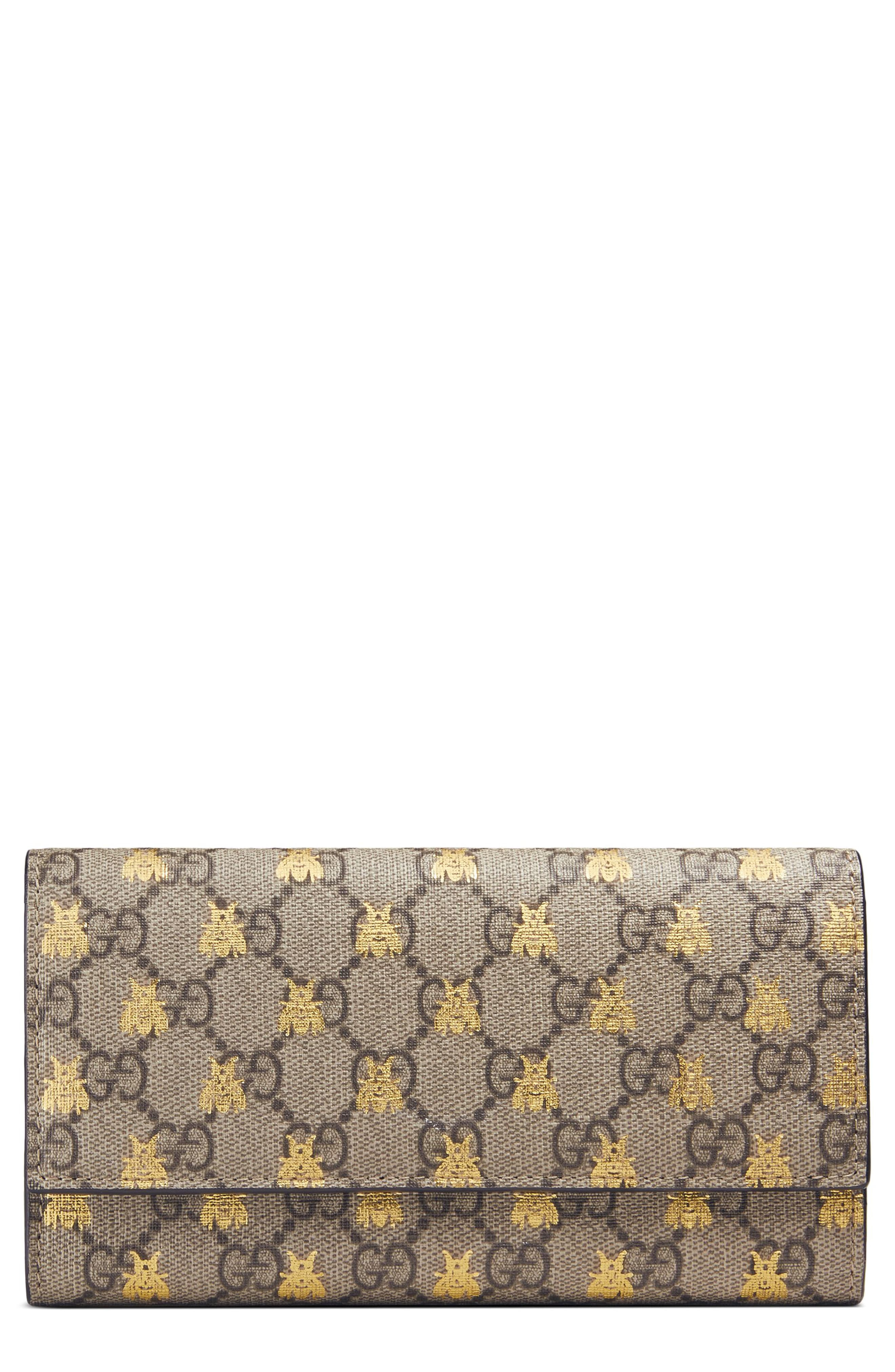 466d2a1d6 Gucci Linea Bee GG Supreme Continental Wallet in 2019 | Products ...
