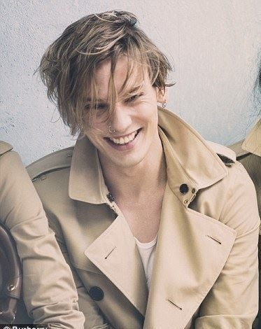 Jamie Campbell Bower modeling for Burberry