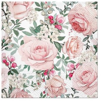 Decoupage Paper Napkin of Pink & Beige Roses in Watercolor | Decoupage Paper