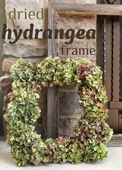 Dried hydrangea frame/wreath  Should have made some before they were all gone for the season!