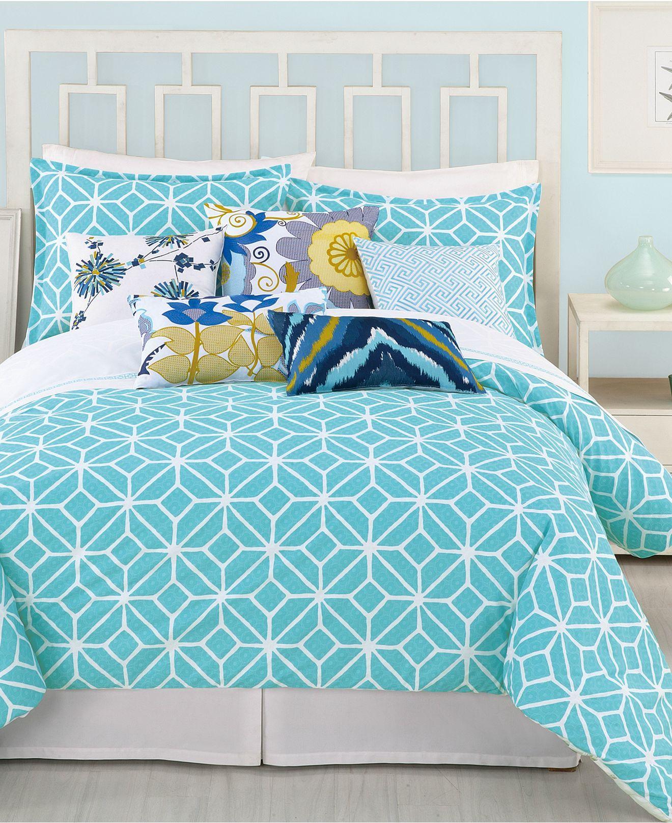 Trina Turk Bedding Trellis Turquoise Comforter And Duvet Cover