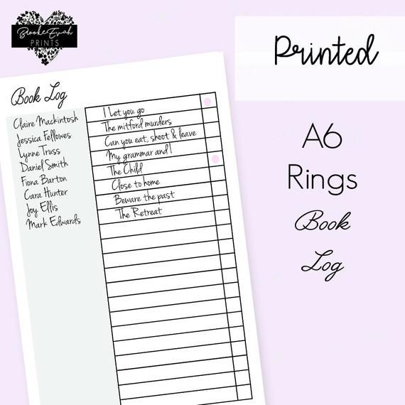 A6 Book Log Inserts, A6 Inserts, A6 Rings, Filofax Refill