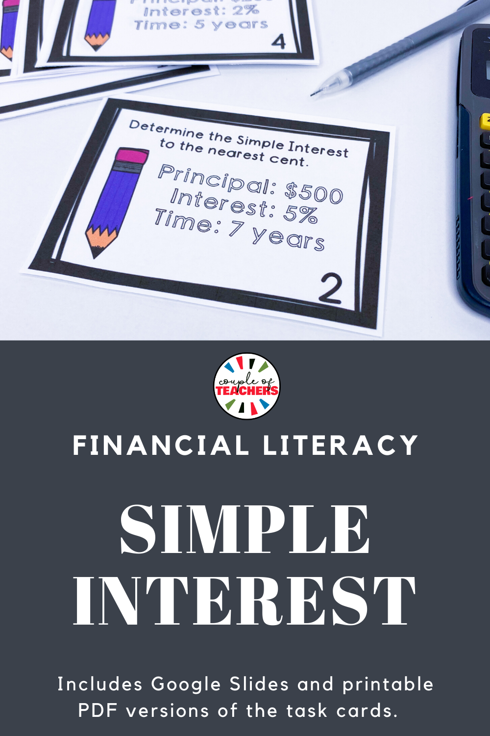 Simple Interest Task Cards for Financial Literacy   Middle school math  review [ 1500 x 1000 Pixel ]
