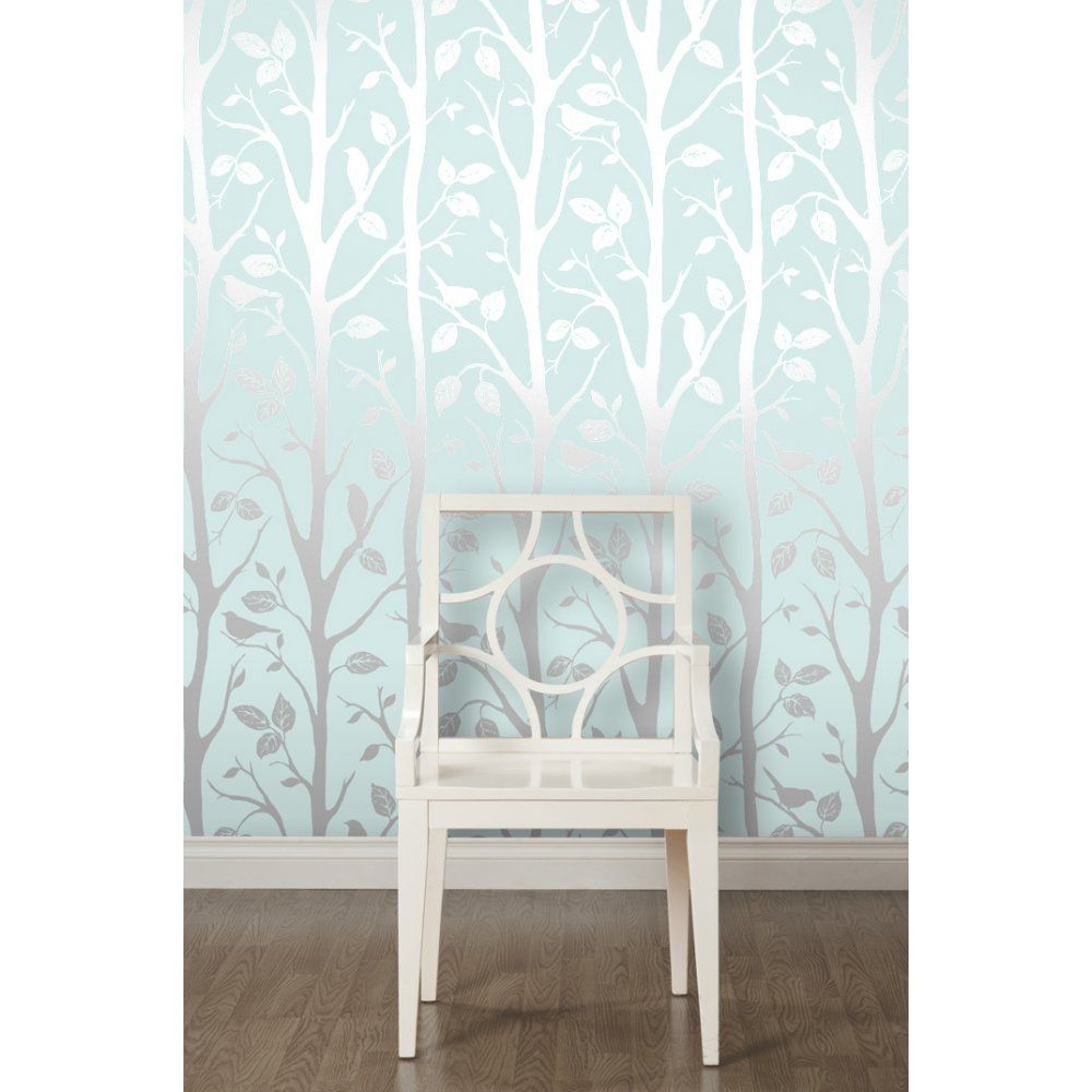 Silver Wallpaper For Bedrooms I Love Wallpaper Shimmer Harmony Wallpaper Teal Silver Amazon