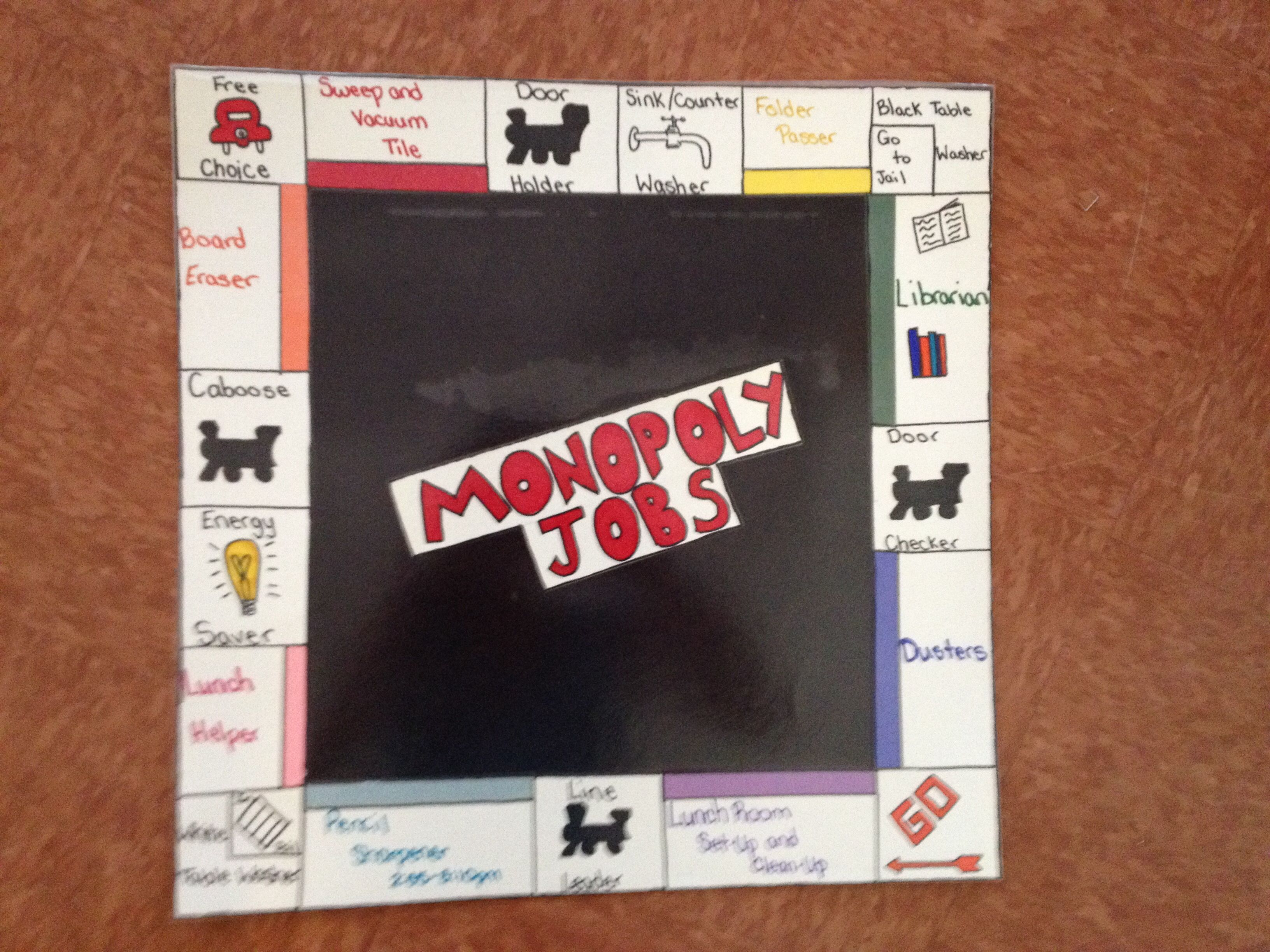 Monopoly themed job chart! (With images) Job chart