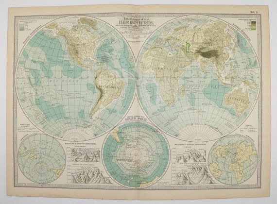Real 1899 antique map of eastern and western hemisphere world globe real 1899 antique hemisphere map old vintage eastern western hemisphere map south pole world globe earth mountains gumiabroncs Images