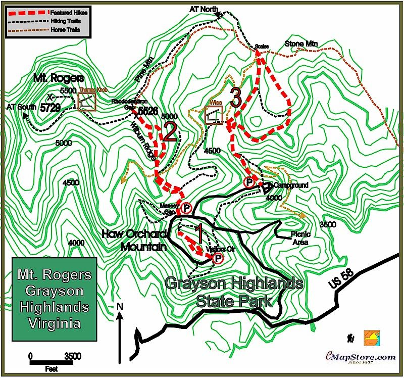 33c47215b Grayson Highlands State Park Mt Rogers Topographic Hiking Map ...