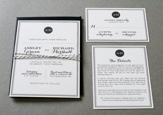 wedding invitations modern elegant by craftypiepress on etsy 3 00