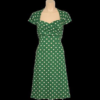 Aansluitende jurk met gedrapeerd borststuk en plooitjes op de schouder. Groen met crèmekleurige stippen. Lengte maat M 100 cm.