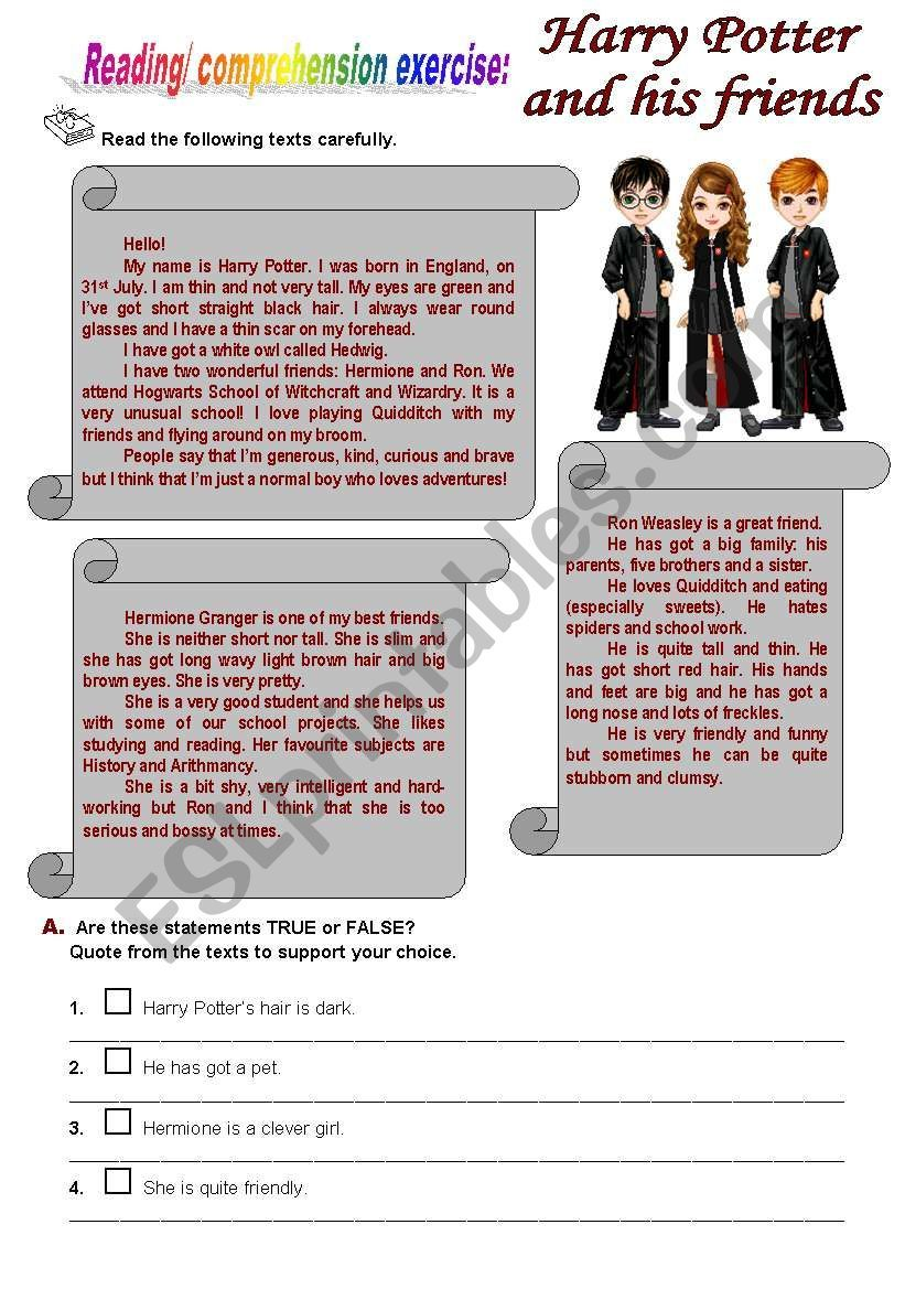 Reading Comprehehension Exercises About Harry Potter Hermione And Ron Harry Potter Activities Harry Potter Classroom Harry Potter [ 1169 x 821 Pixel ]