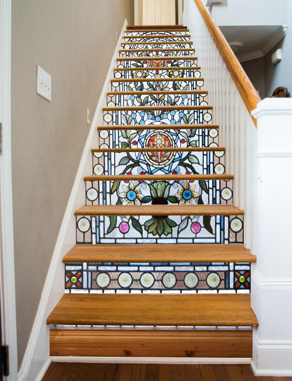 Stained Glass Flowers Etsy Stairway Art Glass Stairs Foyer Decorating