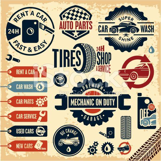 Car Service Icons Auto Parts Rent A Car Car Wash Retro Vintage Car Wash Car Emblem Rent A Car