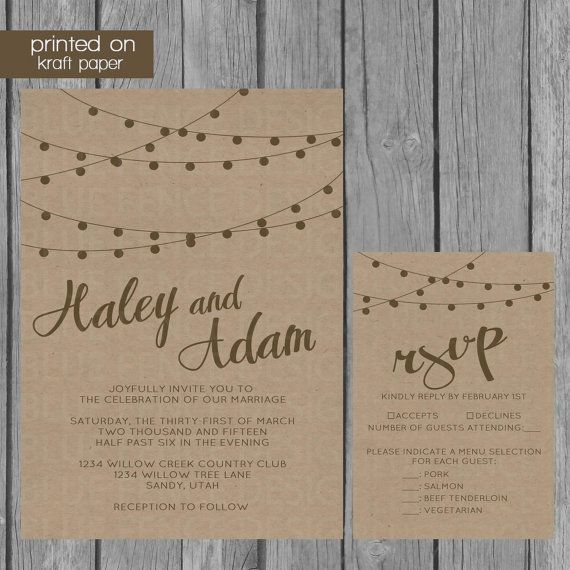 rustic wedding invitation - retro kraft paper, rsvps, insert, Wedding invitations