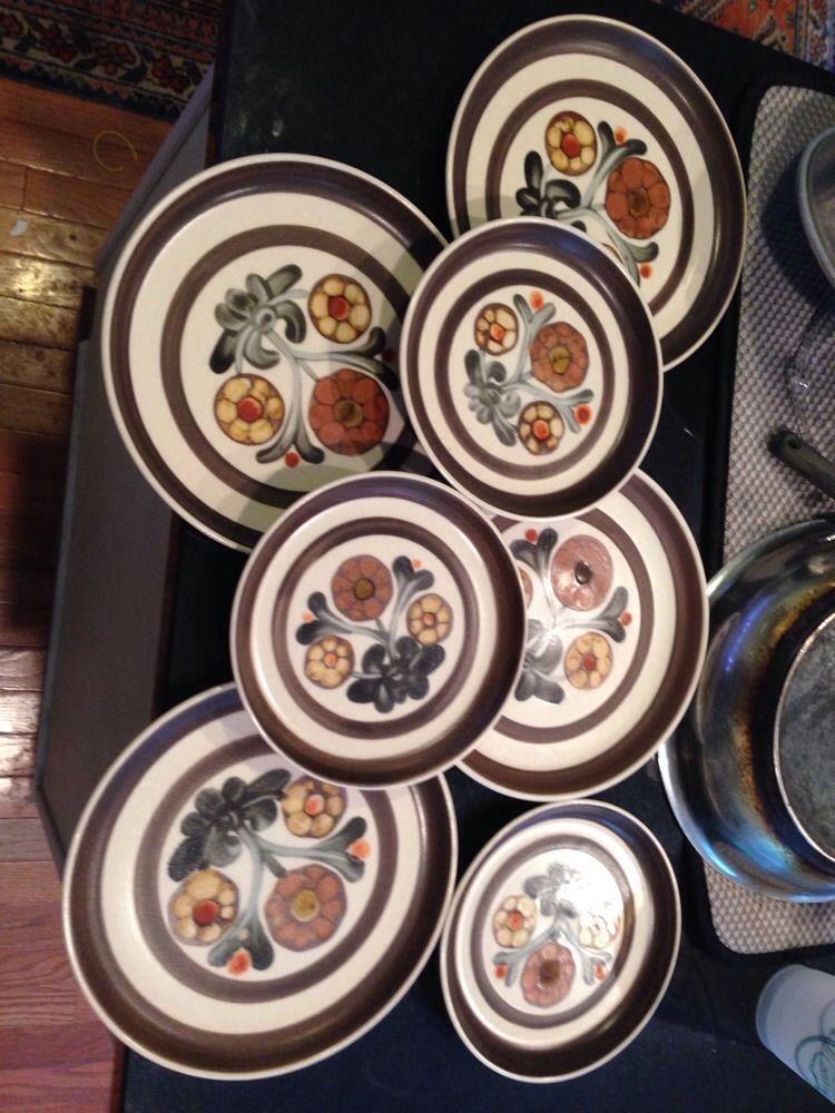 Denby Langley China Pottery Mayflower 4 Salad 3 Bread Plates England #DenbyLangley & Denby Langley China Pottery Mayflower 4 Salad 3 Bread Plates England ...